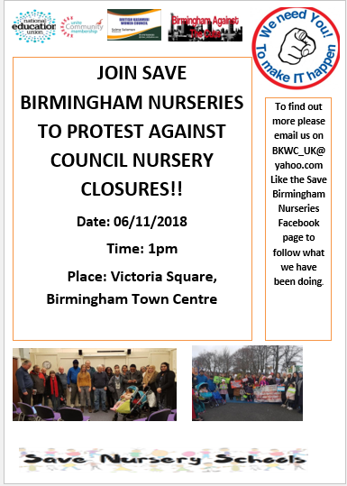 Birmingham Nurseries Protest Against Council Nursery Closures 6th Nov