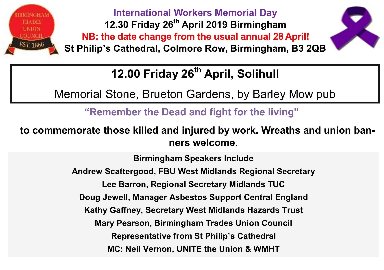 International Workers Memorial Day Friday 26th April Birmingham